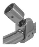 Rohrgelenk 22MM / 25MM -  Verdeckbeschlag Edelstahl V4A m. Kugelgelenk für Rohrmontage