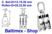 10 mm Doppel-Drahtseilblock m. Messingbuchse Edelstahl Rolle 25m