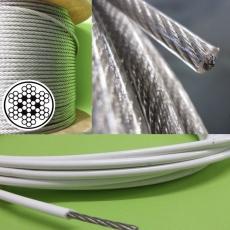 Edelstahlseil 2/3mm  x 10 Meter  -  7x7, flexibel - PVC Mantel klar  -  V4A AISI 316