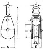 10 mm Drahtseilblock m. Messingbuchse Edelstahl V2A Rolle-32 mm