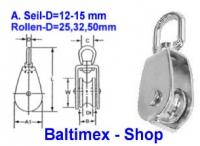 15 mm Drahtseilblock m. Messingbuchse Edelstahl V2A d=50mm