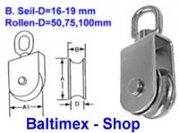 15 mm Drahtseilblock m. Messingbuchse Edelstahl A2 Rollen-D 75mm
