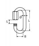 Kettenglied, Kettenverbinder 3,5-4-5-6-8-10-12mm Edelstahl V4A