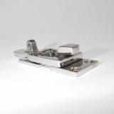 Überfallscharnier, Hebelverschluss 70 x 28 Edelstahl massiv poliert  -  V4A, AISI 316