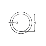 1 Stk. Ring 6 x 45 mm poliert Edelstahl V4A AISI 316