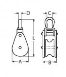 Drahtseilblock, Umlenkrolle aus Edelstahl V2A mit Wirbel + Hundsfot, für Seile von 9-14MM