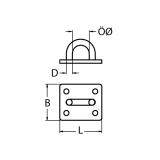 Augplatte rechteckig - 5MM, 6MM, 8MM -  Edelstahl V2A AISI304 poliert