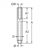 Drahtseilterminal mit Stockschraube Rechtsgewinde für Seile 3mm, 4mm, 5mm -  Edelstahl V4A - Seilspanner