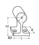 Edelstahl Handlauf Endstück - 60 Grad - V4A - 22/25MM