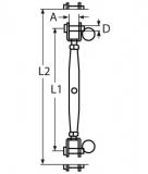 Wantenspanner, Seilspanner 2x Gabel Edelstahl A4, M4, M5, M6, M8, M10, M12, M14, M16, M20