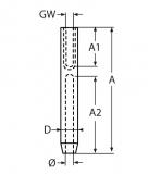 Drahtseilterminal mit Gabel Linksgewinde für Seile 3mm, 4mm, 5mm -  Edelstahl V4A - Seilspanner