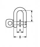 Schäkel gerade kurz - M4, M5, M6, M8, M10, M12 -  Edelstahl V4A AISI316
