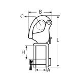Schnappschäkel mit Wirbelgabel 70MM, 87MM, 128MM -  Edelstahl V4A, AISI 316