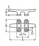 Flache Belegklampe, Bootsklampe -  Edelstahl V4A, 100MM, 125MM, 150MM, 200MM, 250MM