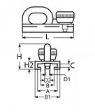 Genuaschlitten Edelstahl V4A AISI 316 mit Bügel