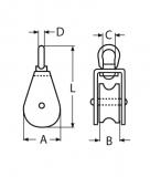 Drahtseilblock, Umlenkrolle aus Edelstahl V2A mit Wirbel, für Seile von 12-15MM