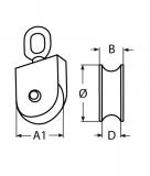 Drahtseilblock eckig, Umlenkrolle aus Edelstahl V2A mit Wirbel, für Seile von 14-17MM