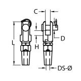 Uni Montageterminal mit Gabel für Seile 4mm, 5mm, 6mm, 8mm - Schraubterminal Edelstahl V4A