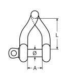 Schäkel gedrehte Form  -  Edelstahl V4A AISI316  -  M4, M5, M6, M8, M10, M12