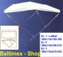 Bimini Sonnensegel 180x110x160-180 Terylene weiss, Alugestell
