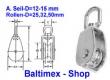 12 mm Drahtseilblock m. Messingbuchse Edelstahl V2A Rolle 32 mm